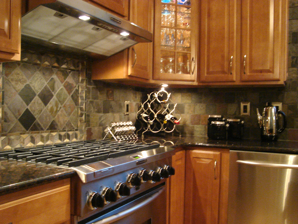 Slate Kitchen backsplash mosaics stainless finishes