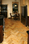 St. Louis Floor Tile - Tile St. Louis - Herringbone Travertine Kitchen Tile Floor Installation