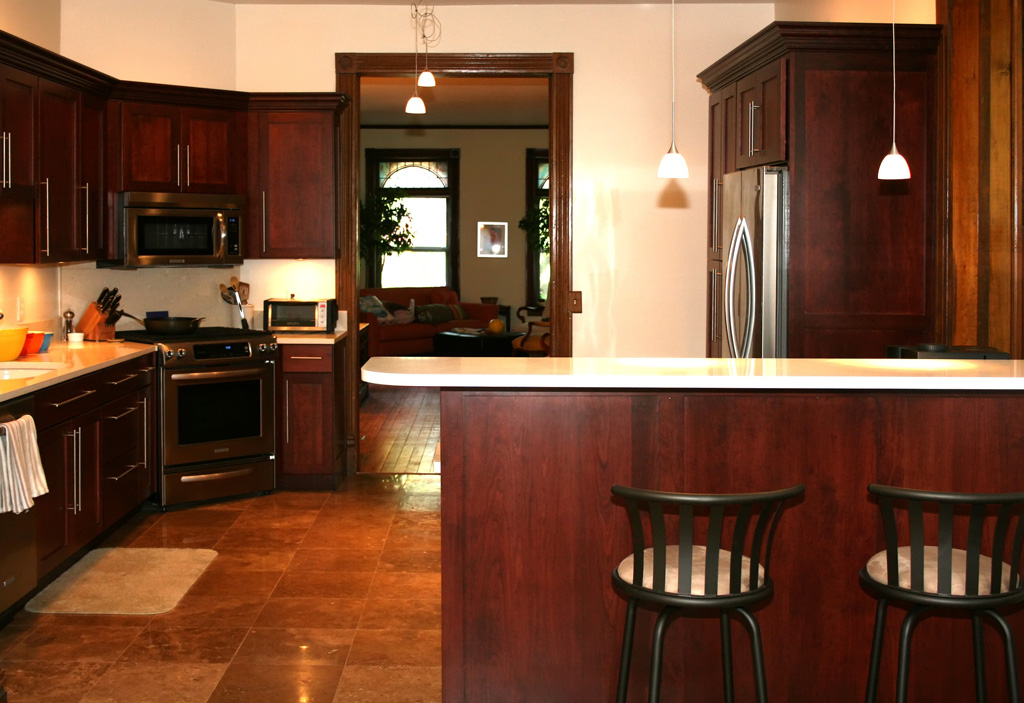 Kitchen Remodel With Mission Cherry Cabinets And Travertine Tile Floor
