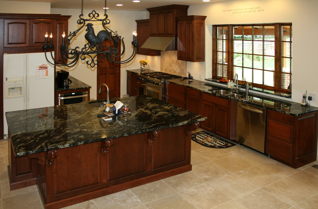 Raised Panel Cherry Kitchen Cabinets With Island And Travertine Tile Floor