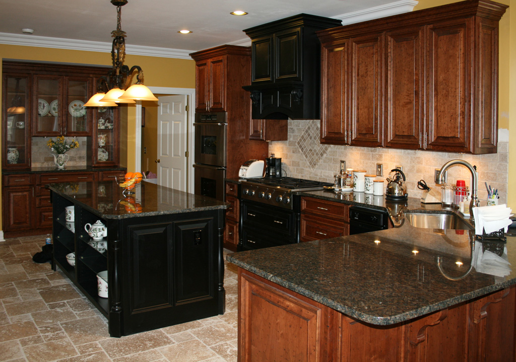 Tile Kitchens #23 - Travertine Kitchen Tile Floor - Distressed Cherry Kitchen Cabinets - Tile  St. Louis - St