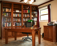 Hickory Bookcases and Office Table - St Louis Kitchen Cabinets Kitchen Remodeling