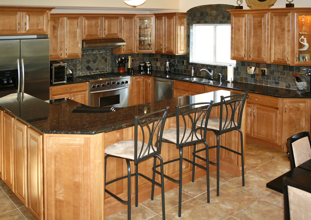 Marble Kitchen Floor with Slate Tile Backsplash