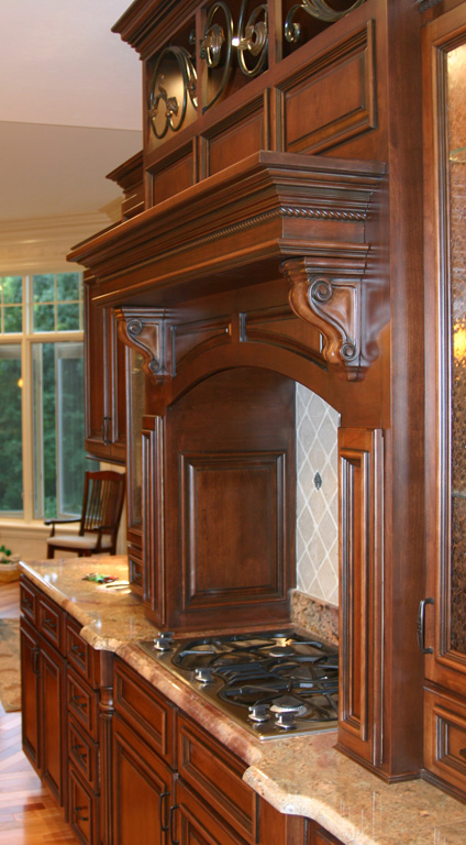 Explore St Louis Specialty Use Kitchen Cabinets, Cabinet Design - Corner Range Hood Mantle Images