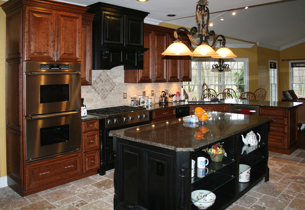 Kitchen Remodel With Cherry Kitchen Cabinets And Stone Tile Floor