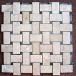 Mosaic Marble Tile St. Louis - Polished Marble Mosaic Tile Crema Marfil Verde Dot