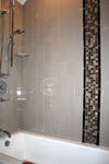 Custom Tile Showers - Tile St. Louis - Tile Shower Vertical Bricklay Mosaic Insert - Bathroom Remodel