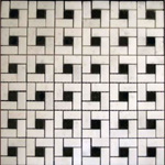 Mosaic Marble Tile St. Louis - Statuary Marble Target Mosaic Tile Negro Marquina Dot