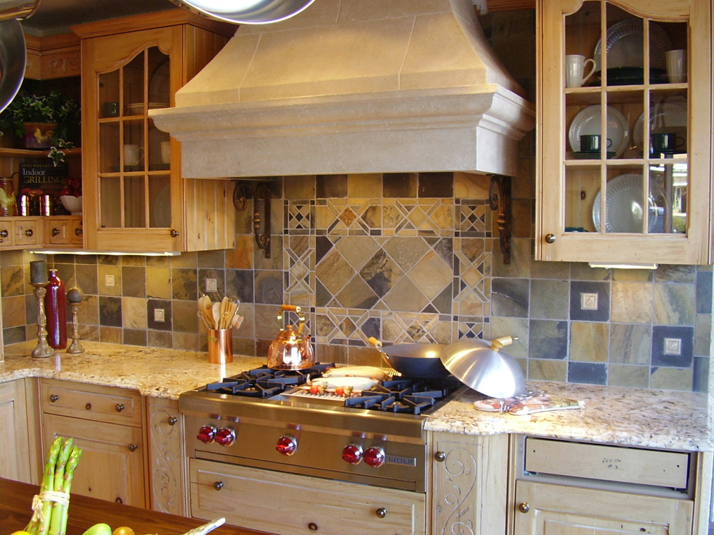 Custom designed and cut mosaic slate tile backsplash