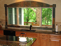 Slate Window Tile and Travertine Tile - Kitchen Tile Backsplashes - Backsplash #13