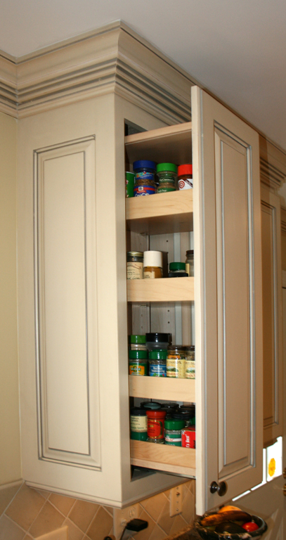 St Louis Kitchen Cabinets   Wall Cabinet With Pull Out Spice Rack