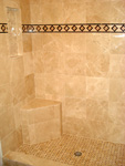 Custom Tile Showers - Tile St. Louis - Marble Shower Monument Bench