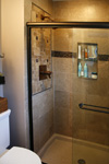 St. Louis Custom Showers - Tile Installation St. Louis - Honed Travertine Mosaic Insert
