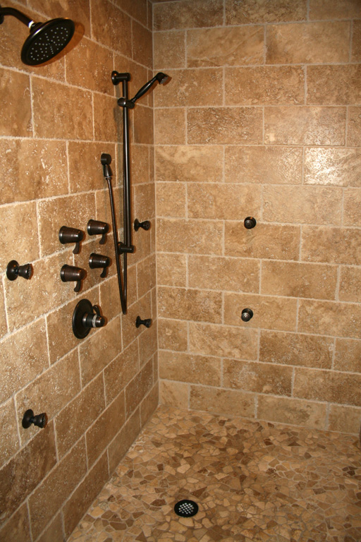 Bathroom remodel on pinterest bathroom tile and small for Bathroom travertine tile designs