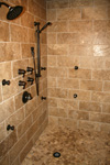 Custom Tile Showers - Tile St. Louis - Bath Remodel Travertine Stone Tile Custom Shower