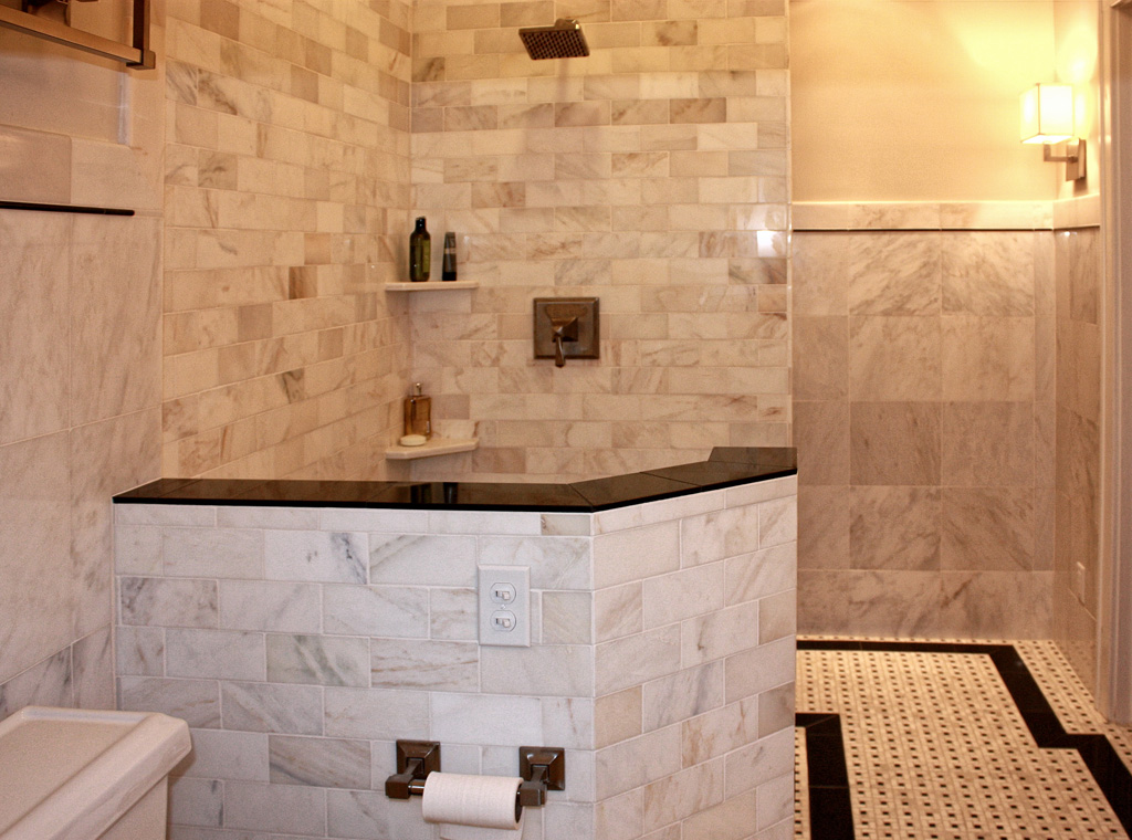 Carrera Marble Shower With Mosaic Tile Floor And Walls