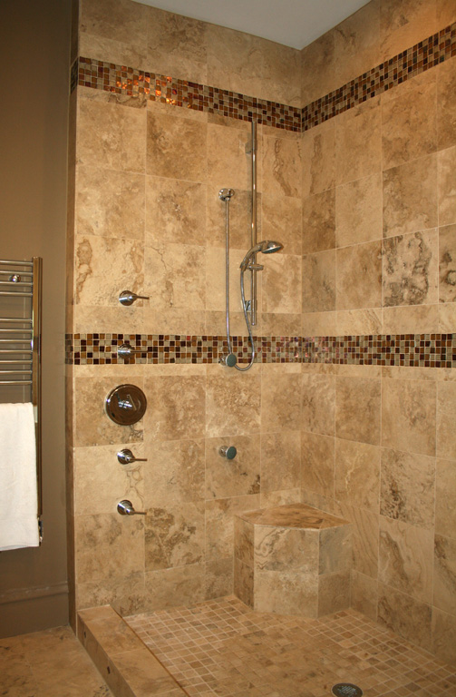 Interior design bathroom shower tile decorating ideas for Travertine tile bathroom ideas