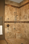 St. Louis Floor Tile - Tile St. Louis - Walk in tile shower with body sprays