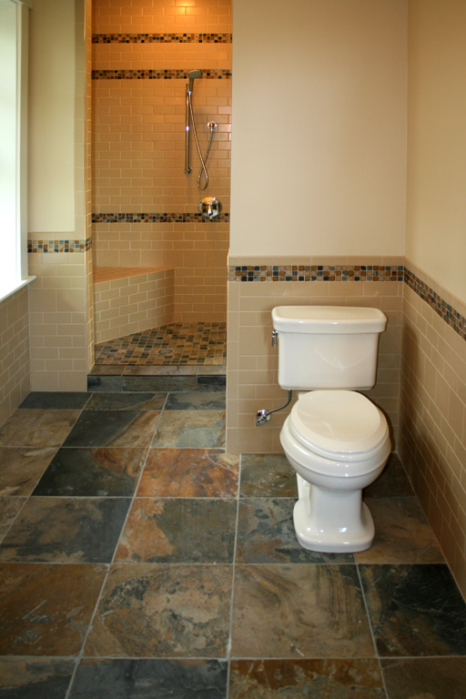 Custom Tile Showers - Tile St. Louis - Slate Bathroom Floor Ceramic