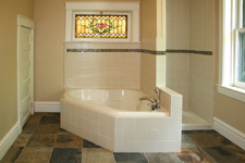 Custom Tile Showers - Tile St. Louis - Slate Bathroom Floor Ceramic Subway Tile Bathroom Remodel