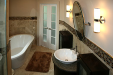 Custom Tile Bathroom - Tile St. Louis - Bath Remodel Travertine Tile Shower Glass Mosaic Insert