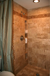 Custom Tile Showers - Tile St. Louis - Travertine Tile Custom Shower Inset Shelf - Bathroom Remodel