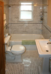 Custom Tile Showers - Tile St. Louis - Bathroom Remodel Venatino Marble Shower Basket Weave Marble Floor