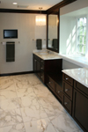 Custom Tile Showers - Tile St. Louis - Heated marble bathroom floor and glazed cherry cabinets