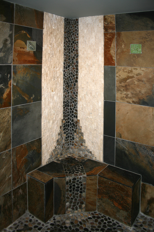 Custom Tile Showers   Tile St. Louis   Bath Remodel Slate Shower With Custom  Mosaic. Shower Bench With