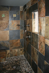 Custom Tile Showers - Tile St. Louis - Bath remodel slate shower with pebble mosaic floor