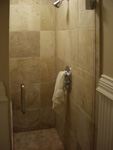 St. Louis Custom Showers - Tile Installation St. Louis - 16X16 Travertine Shower Custom Base
