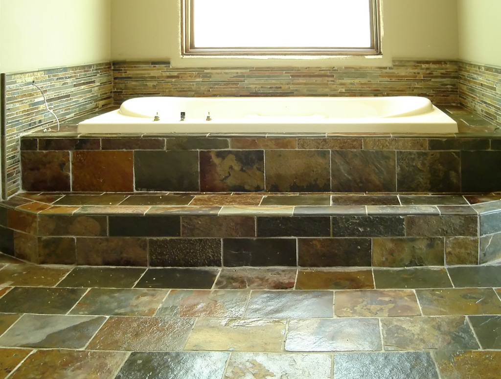 Tile bathroom floor and shower quincalleiraenkabul for Slate tile bathroom ideas