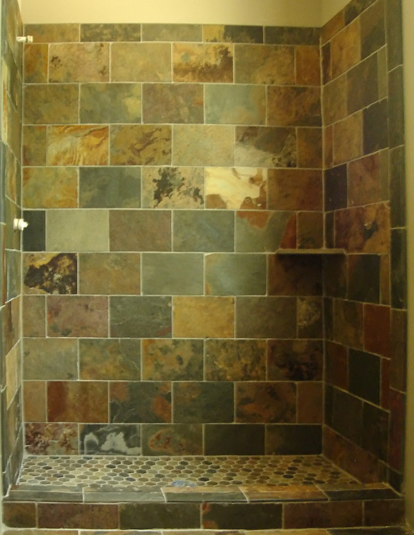 Custom shower in multicolor slate tile