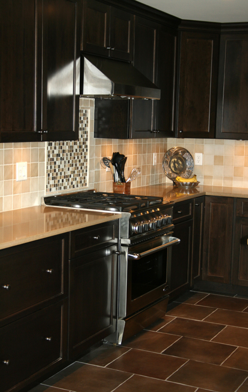 St Louis Kitchen Cabinets Kitchen Remodeling   Cherry Kitchen Cabinets With  Porcelain Floor