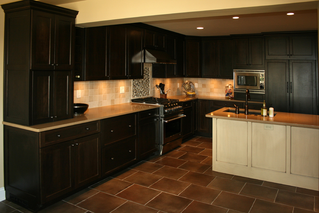 Dark Tile Floor Kitchen Interesting Kitchen With Cherry Cabinets Inspiration