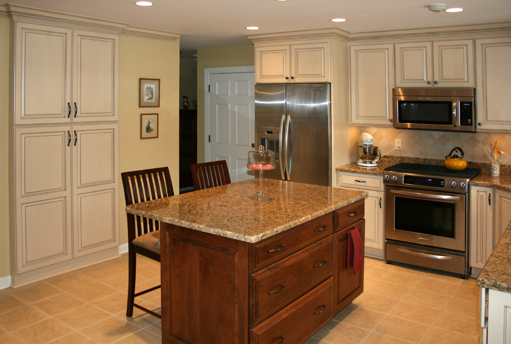 St Louis Kitchen Cabinets Kitchen Remodeling   Painted And Glazed Kitchen  Cabinets With Stained Cherry Island