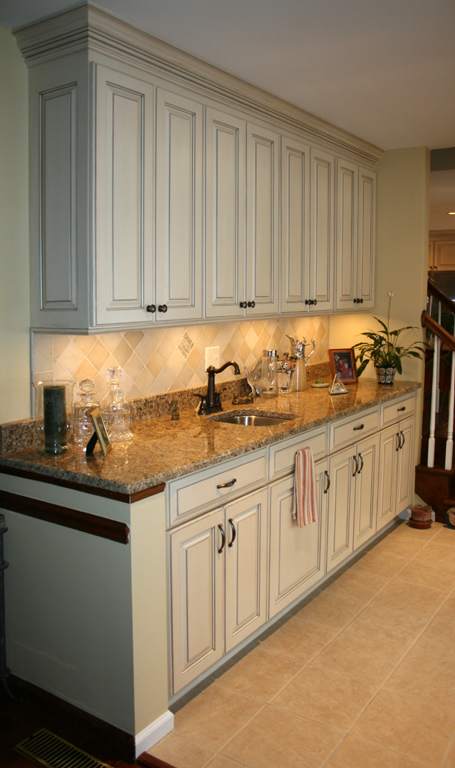 Lovely St Louis Kitchen Cabinets Kitchen Remodeling   Painted And Glazed Kitchen  Cabinets With Stained Cherry Island
